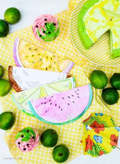 DIY Aquarell Einladungskarten: Wassermelone, Limette, Kokosnuss, und Maracuja, waseigenes.com Fruit, Watermelon Cupcakes, Exotic Fruit, Cookie Box, Coffee Meeting, The Fruit