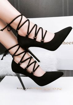Schwarz Punkt Zehenstiletto Kreuz Gurt Mode Hochhackig Schuhe