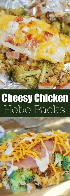 Cheesy Chicken Hobo Packs Cheesy Chicken Hobo Packets – stuffing, chicken, broccoli, bacon, and cheese all layered and cooked in foil packets. They can be cooked in the oven or on the grill. Easiest dinner ever! Oven Chicken, Cheesy Chicken, Chicken Broccoli, Grilled Chicken, Baked Chicken, Chicken Nuggets, Foil Packet Dinners, Foil Pack Meals, Foil Dinners