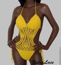 Купить Вязаный купальник - жёлтый, Вязаный купальник, купальник крючком, слитный купальник, Вязание крючком
