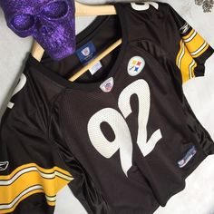 steelers jersey ✖️  practically brand new jersey ✖️                                         ALL CLOTHING is either NWT or Preloved has been washed + sanitized then kept in a PET FREE and SMOKE FREE environment .  too expensive , gonna break da bank ? Then add me to a  b u n d l e  or use the offer button    n o  l o w  b a l l i n g  REASONABLE offers accepted . I QUICKLY DECLINE OFFER requests like 40% below asking price .      N O T R A D E S   nfl Tops