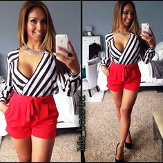 so cute and sexy low cut long sleeve striped shirt with red shorts