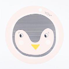 "OYOY ""Penguin"" roséfarbenes Tischset mit Pinguin-Print"