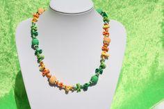 Ketten kurz - Kette Pancake Perlen grün gelb orange silber - ein Designerstück von trixies-zauberhafte-Welten bei DaWanda