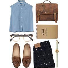 Navy blue polka dot jeans, denim tank, brown moccasins