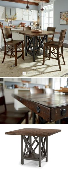 The Carpenter group features unique details that will add character to any dining room. Carpenter is easily identified by its reclaimed wood construction in a patchwork pattern and its dark, industrial-inspired bases. The exposed bolt heads and rustic finish add to the aged feel of this group. Also available as regular height.