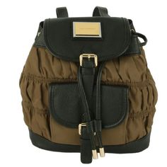 JUICY COUTURE NYLON ROUCHED MINI BACKPACK-BROWN - Click image twice for more info - See a larger selection of Girls teen  backpacks at http://kidsbackpackstore.com/product-category/teen-girls-backpacks/ - kids, juniors, back to school, kids fashion ideas, teens fashion ideas,  school supplies, backpack, bag , teenagers,  boys, gift ideas