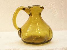 Hand Blown Olive Green Art Glass Cruet Applied by GarageSaleGlass, $14.99
