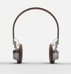 metal leather chrome brown headphones