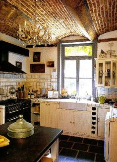 Small French Country Kitchens | kitchens - ktichen, french country, dream kitchen with amazing brick ...