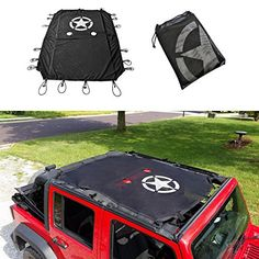 cartaoo Sunshade Mesh UV Protection Bikini Top Cover Net for 2007-2017 Jeep Wrangler JK JKU 4-Door Version JK 2-Door // 4-Door No Pattern