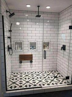 Master bathroom walk in shower ideas 10 - Home Design Ideas - House Badezimmer Badezimmer dusche Badezimmer fliesen Bad Inspiration, Bathroom Inspiration, Small Bathroom, Bathroom Ideas, Bathroom Designs, Bathroom Organization, Master Bathrooms, Bathroom Layout, Bathroom Storage