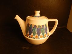 """This Figgjo Flint Clupea tea pot is in good condition with no chips or cracks and measures approx. 6"""" tall by 8 3/4"""" wide including the spout and handle and is marked on the bottom (see photo). There is some crazing in the glaze of this teapot. 