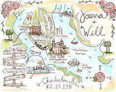 She can draw/ add any info. Cute.  Custom Wedding Map-Charleston, SC-Hand Drawn Original Artwork. $125.00, via Etsy.