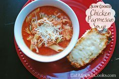Slow Cooker Chicken Parmesan Soup couldn't be easier!