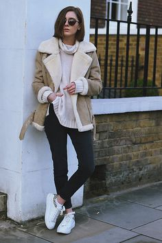Get this look: http://lb.nu/look/8017222 More looks by Xenia Klein: http://lb.nu/xenia_antonina Items in this look: H&M Sweater, Topshop Cain Jeans, Zara Leather Sneakers, Topshop Shearling Jacket #casual #edgy #minimal