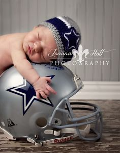 Baby football fan -- replace with Bears helmet and hat, of course!