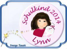 Button Schulkind 2014 braune Haare Einschulung von Jasuki auf DaWanda.com