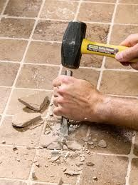 DEMOLITION TIME! One of the ways of improving and changing the look of your home is to replace old worn out tiles and do it yourself! Installing tile is fun, easy and doesn't have to be expensive! How to install tiles, tile installation, www.groutcleaningdiy.com