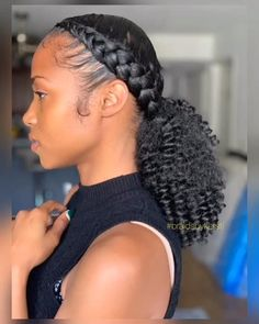 Braided Ponytail Black Hair, Hair Ponytail Styles, Braids For Black Hair, Short Hair Styles, Braid Ponytail, Braided Ponytail Hairstyles, Braided Hairstyles, Protective Hairstyles For Natural Hair, Natural Hair Braids