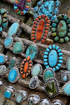 ∆∆∇∇ elementality | unique jewelry + clothing + art | authentic navajo turquoise and spiny oyster shell rings