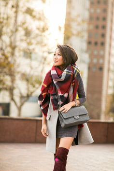 Cozy :: Burgundy boots & Oversized scarf :: Outfit :: Vest :: Intermix Dress :: T by Alexander Wang Bag :: Chanel Shoes :: Joie Accessories :: Zara scarf , Cartier watch, Wanderlust + Co ring, Deborah Lippmann 'Stormy weather' gray color Published: November 14, 2014