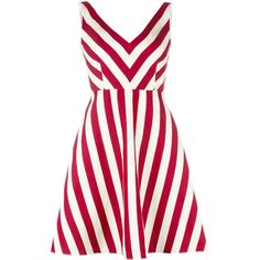 Red Valentino striped dress ($650) ❤ liked on Polyvore featuring dresses, red, stripe dresses, red white dress, red dress, red striped dress and red stripe dress