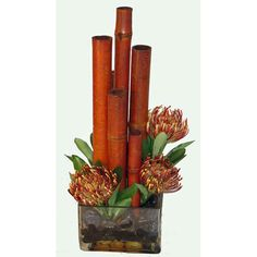 Faux Protea and Bamboo in Acrylic Water