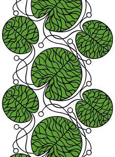 Bottna Green Fabric by Marimekko contemporary upholstery fabric