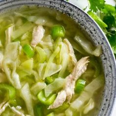 Detox cabbage soup is an easy way to give your liver a little love. Just a few simple ingredients. Ready in 20 minutes. LOADED with all the liver healing foods. Detox Soup Cabbage, Cabbage Soup Recipes, Cabbage Diet, Cabbage Chicken Soup, Celery Recipes, Healthy Snacks, Healthy Eating, Healthy Recipes, Clean Eating