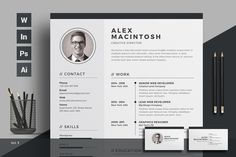 Ad: Resume/CV by ThemeDevisers on Clean Resume Word Template. Elegant page designs are easy to use and customize, so you can quickly tailor-make your resume for any Resume Words, Resume Cv, Resume Writing, Resume Design, Business Brochure, Business Card Logo, Creative Resume Templates, Design Templates, Creative Cv