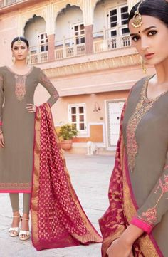 New Designer Party Wear Georgette Churidar Suits Collection With Banarasi Dupatta Catalog Churidar Suits, News Design, Party Wear, Sari, How To Wear, Collection, Fashion, Saree, Moda