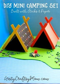 DIY Mini Camping Set Craft with Sticks and PaperMake camping gear for your small toys take them on a trip popsicle paper tents stick fireplace Craft Activities, Preschool Crafts, Kids Crafts, Diy And Crafts, Craft Projects, Camping Crafts For Kids, Campfire Crafts, Camping Theme Crafts, Family Crafts