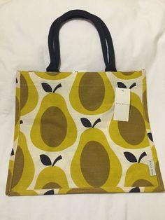 Orla Kiely Pear Tote Bag Yellow Fruit Tesco 2017 Shadow White Gift Jute Brown