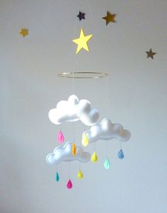 """Rain Cloud Mobile for Nursery """"RAINBOW STAR"""" with yellow star by The Butter Flying on Etsy, $57.04"""