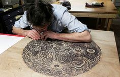 Extraordinary wood-cut print process shots for Paul Roden and Valerie Leuth's Moon