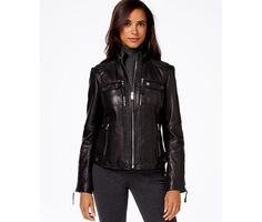 MICHAEL Michael Kors Knit-Side Leather Bomber Jacket