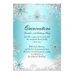 "Quinceanera 15th Winter Wonderland Silver Blue 2 5x7 Paper Invitation Card--**EXPLORE an Amazing Collection of  ""Theme Matching Wedding Invitation Sets"" by Visiting... http://www.zazzle.com/weddinginvitationkit"