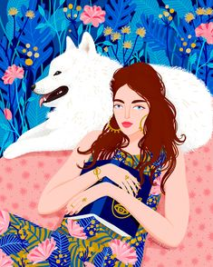 Girl and white dog Art Print by Petra Braun Illustration - X-Small Dog Illustration, Portrait Illustration, Digital Illustration, Samoyed, Posca Art, Deer Pattern, Petra, White Dogs, Girl And Dog
