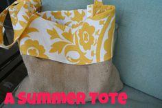 summer tote - burlap and pretty fabric