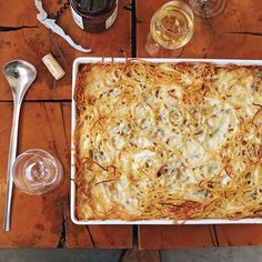 """Baked Four-Cheese Spaghetti - Marc Murphy grew up eating this intensely cheesy baked spaghetti. """"When I was young, we lived in Genoa, where spaghetti is the pasta of choice. This is my mother's version of macaroni and cheese,"""" he says. Cheesy Baked Spaghetti, Cheese Spaghetti, Spaghetti Recipes, Pasta Recipes, Pasta Spaghetti, Spaghetti Casserole, Cheesy Recipes, Recipes Dinner, Wine Recipes"""