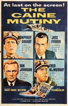 """El Motín del Caine"" (""The Caine Mutiny"", 1954). Dir. Edward Dmytryk. Stars: Humphrey Bogart, José Ferrer, Van Johnson, Fred MacMurray, Robert Francis."