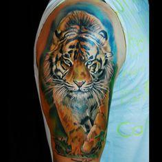 Tiger tattoo Tiger Face Tattoo, Big Cat Tattoo, Cat Tattoos, Celtic Knot Tattoo, Tattoo Ideas, Tattoo Designs, Band Tattoo, Worcester, Beautiful Tattoos