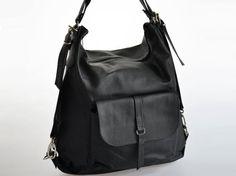 Leather backpack. Leather shoulder bag. Handbag. Handmade. COLOR: Black