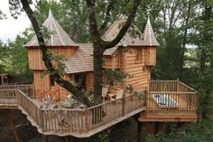 The Châteaux Dans Les Arbres in Aquitaine, France were designed and built by owner and expert treehouse builder Rémi Bècherel, who named them after the nearby châteaux that inspired their unique designs. Unlike the stone originals, these versions are built of wood from sustainably managed forests. Available for overnight accommodations at: http://www.chateaux-dans-les-arbres.com/chateaux/index.php/home.html