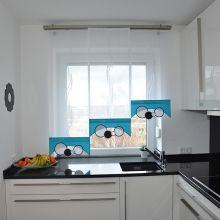 stufengardine f r die k che mit pflanzenmuster http. Black Bedroom Furniture Sets. Home Design Ideas