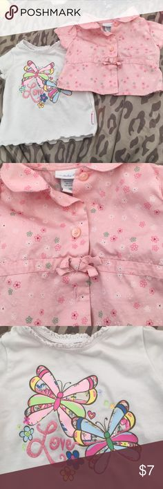 Assorted Tops Bundle!! Nice 2-Pc Tops Bundle... Sz. 3mths & 3-6 Mths! Good condition... A little wear on white top from washing! No stains/holes.... No Trades/PP or Lowballing! lullaby club Shirts & Tops Button Down Shirts