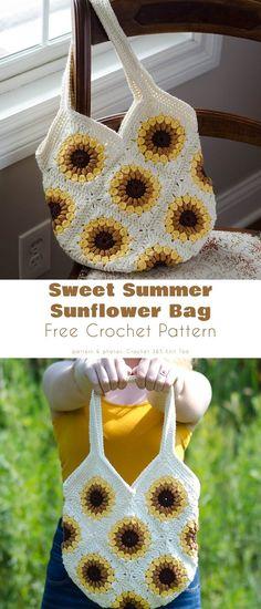 Crochet Square Patterns, Crochet Squares, Crochet Designs, Free Crochet Purse Patterns, Crocheting Patterns, Crochet Purses, Free Crochet Bag, Diy Crochet, Crochet Crafts