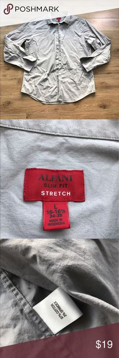 Alfani slim fit Stretch Bottom Down shirt long slv 💋Super stylish and comfy. From non-smoking, non-pet home.   💋Add to bundle to save on shipping costs! Don't forget to add any two things in my closet and receive an extra 10% off! no trades.  💋About me: Please buy with confidence. I work to make sure my clients are happy!  I buy similar styles, trends, brands and sizes, please follow me to see new styles added every day. Alfani Shirts Dress Shirts