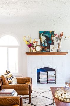 Rug, wood mantle, painted fireplace